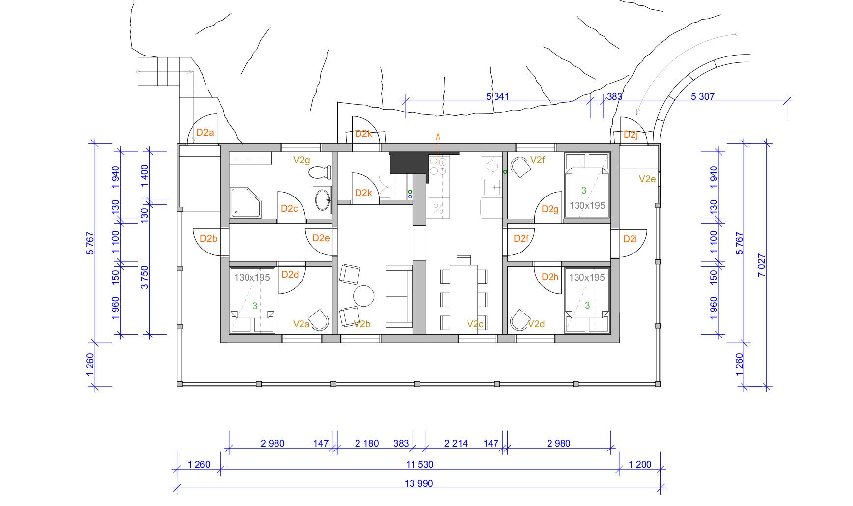 Gjestehuset plantegning 2. etasje. Tegning: Atle J. Goutbeek