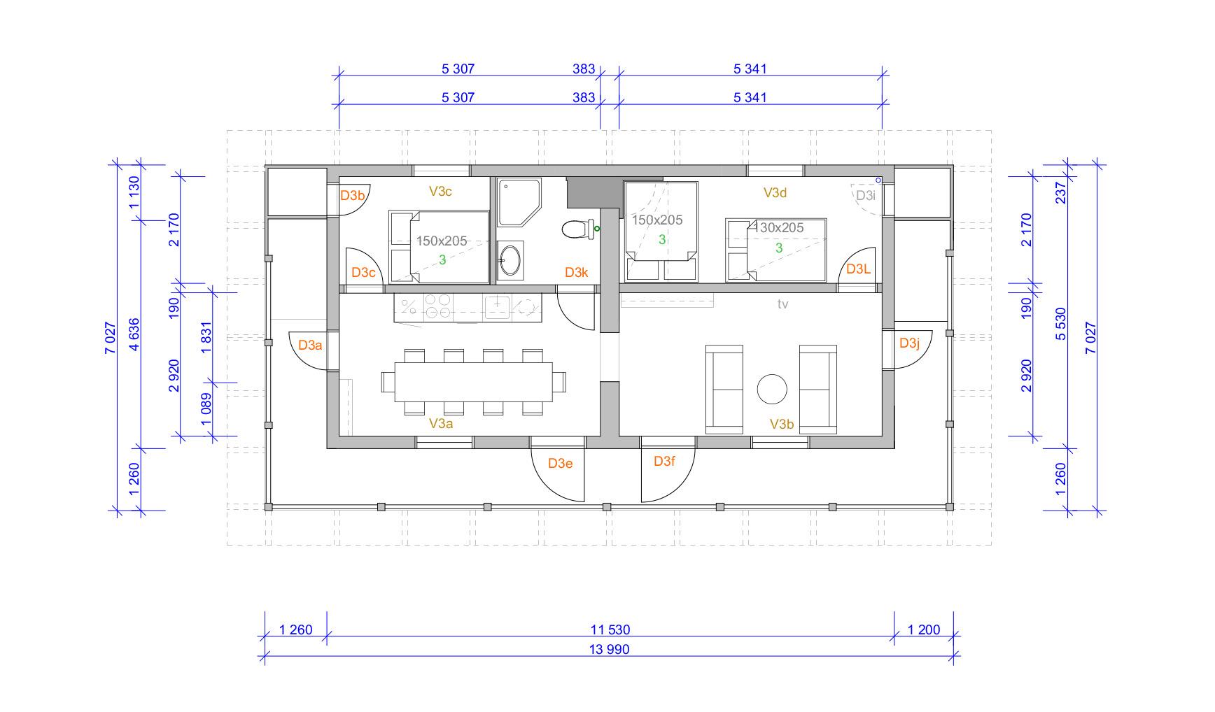 Gjestehuset plantegning 3. etasje. Tegning: Atle J. Goutbeek