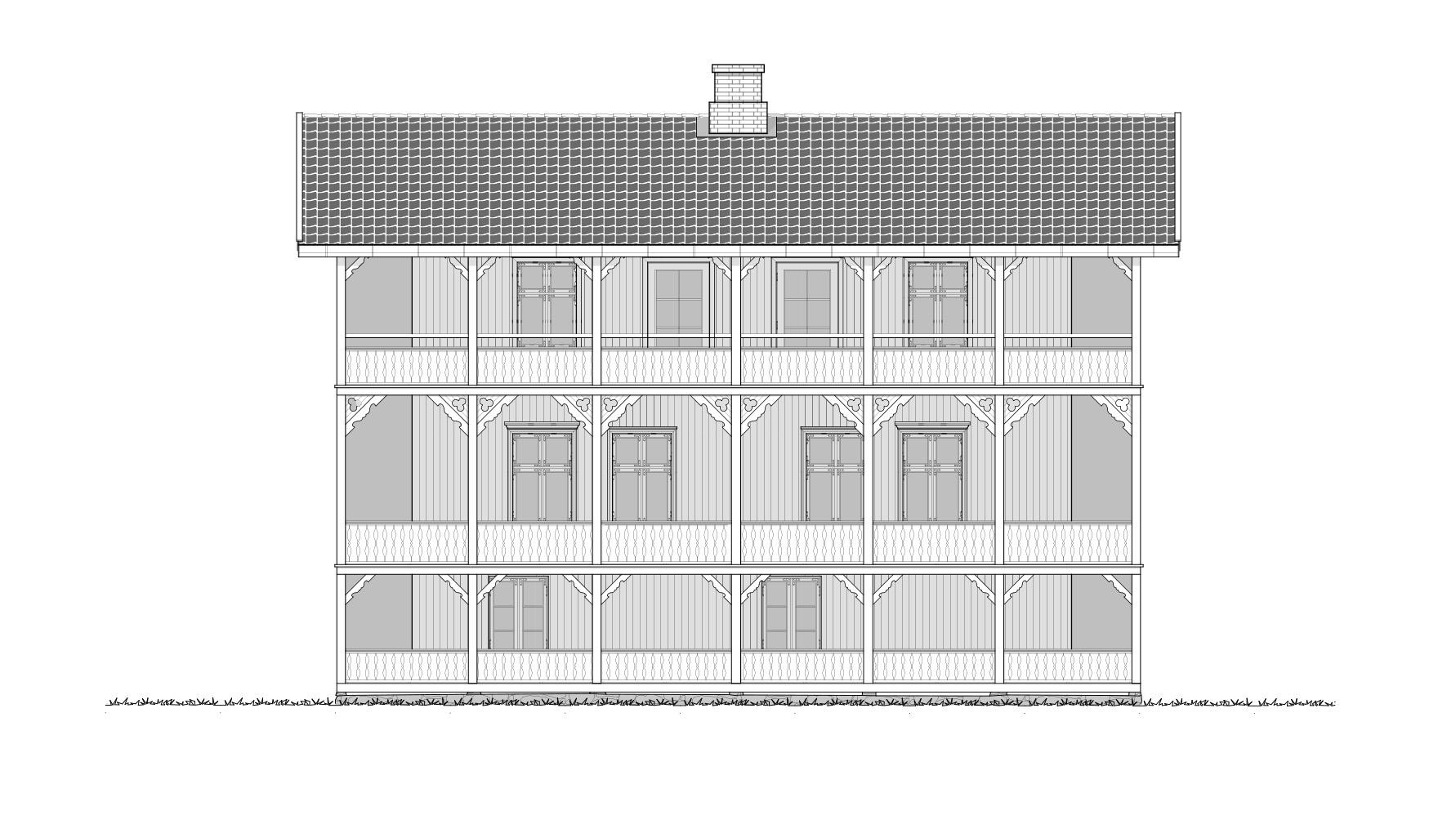 Gjestehuset fasade mot sjøen. Tegning: Atle J. Goutbeek