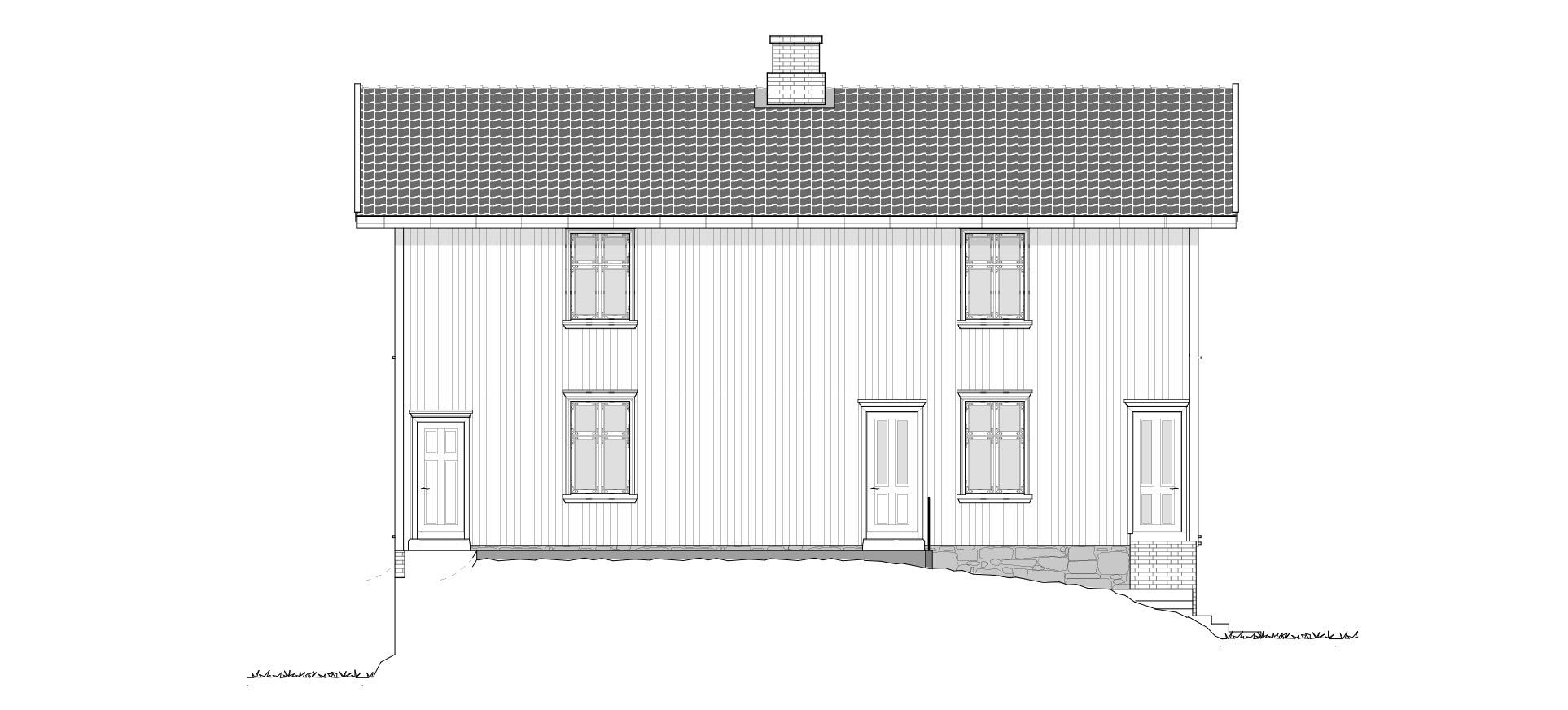 Gjestehuset fasade mot nord-vest. Tegning: Atle J. Goutbeek